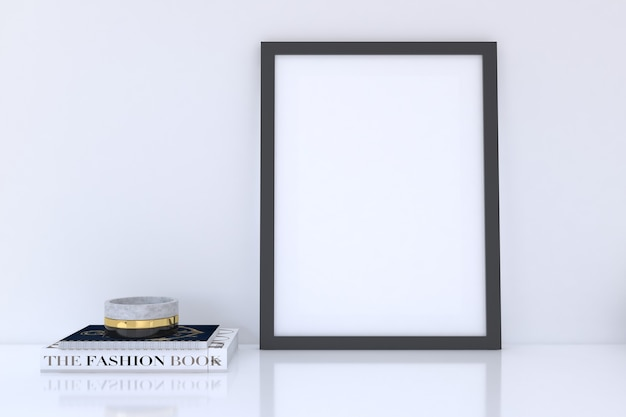 Modello di cornice verticale nera con libri with