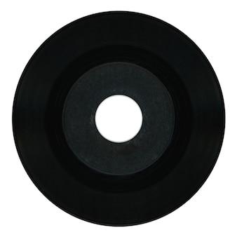 Disco in vinile nero con etichetta vuota su bianco