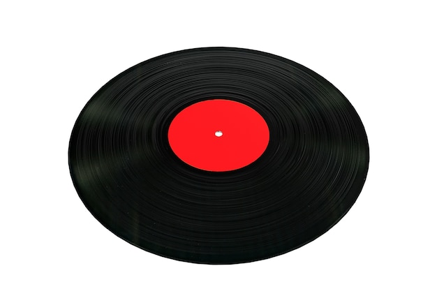 Disco in vinile nero con etichetta vuota bianca su sfondo bianco. rendering 3d
