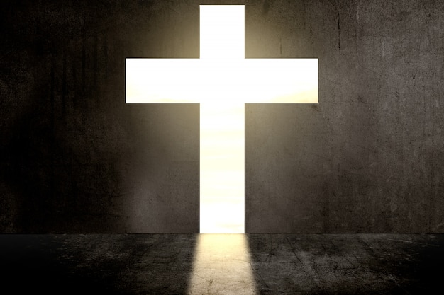 Muro nero a forma di croce cristiana