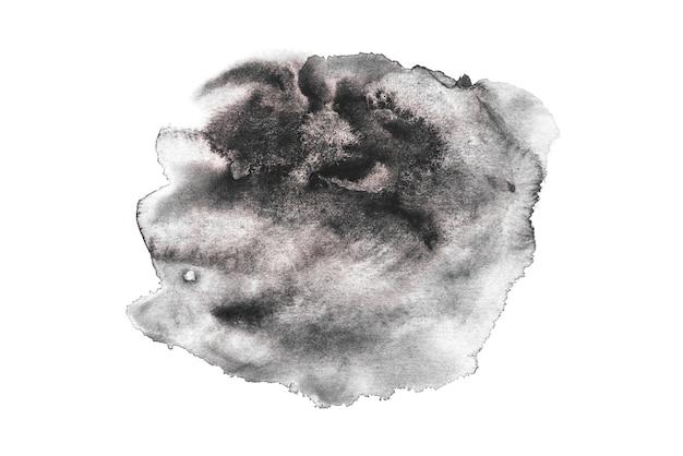 Acquerello nero che spruzza su priorità bassa bianca, vernice della mano su carta.