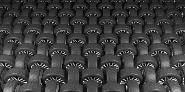Ruote nere su sfondo nero nell'illustrazione 3d