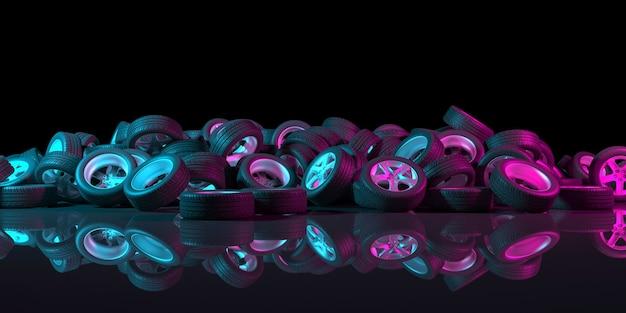 Ruote nere su sfondo nero con illuminazione al neon nell'illustrazione 3d