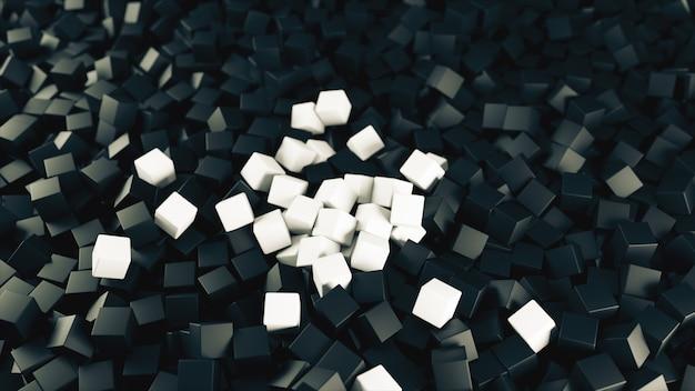 Illustrazione bianca nera 3d da un mucchio dei cubi astratti