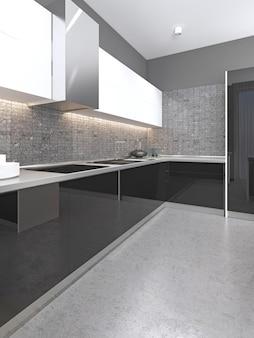 Cucina contemporanea in bianco e nero con facciata lucida e pavimento in cemento. rendering 3d.