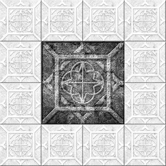 Piastrelle in pietra decorativa in bianco e nero con motivo e struttura in marmo. elemento per la progettazione delle pareti. trama di sfondo
