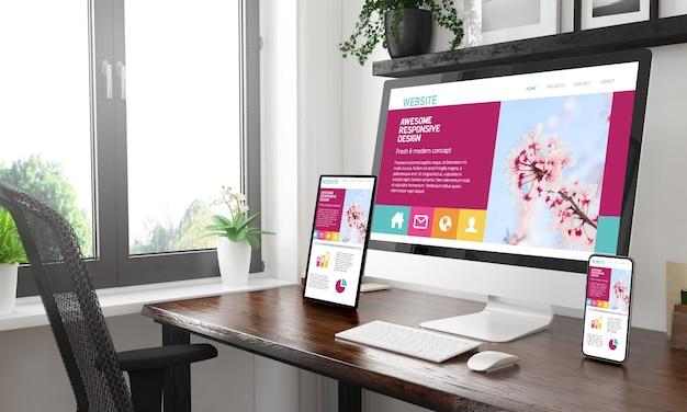 Desktop in bianco e nero con tre dispositivi che mostrano un fantastico rendering 3d di design reattivo