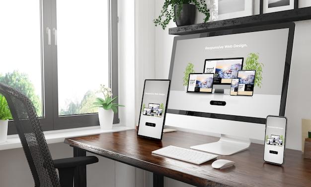 Desktop in bianco e nero con tre dispositivi che mostrano il rendering 3d del sito web reattivo