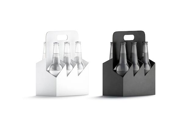 Portabottiglie in cartone per bottiglie di birra in vetro bianco e nero mockup maniglia per scatola vuota per mock up di bottiglie di vetro