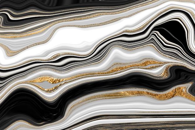 Trama di marmo venato oro bianco e nero. fondo astratto dell'ondulazione dell'agata.