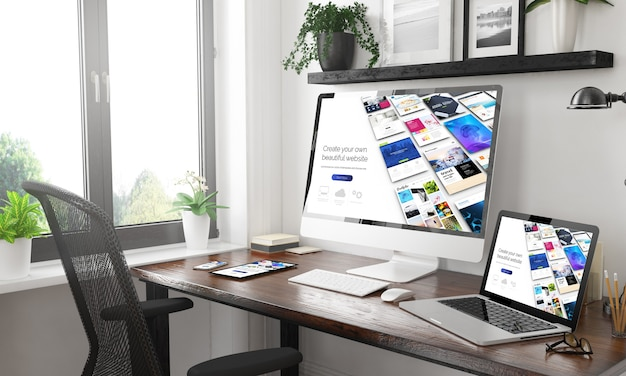 Home office in bianco e nero con sito web di generatore di dispositivi reattivi. rendering 3d