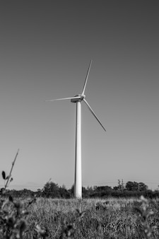 Immagine in bianco e nero di una turbina eolica