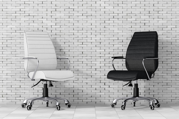 Sedie da ufficio boss in pelle bianca e nera davanti al muro di mattoni. rendering 3d.