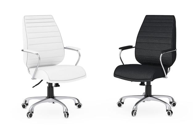 Sedie da ufficio boss in pelle bianca e nera su sfondo bianco. rendering 3d.