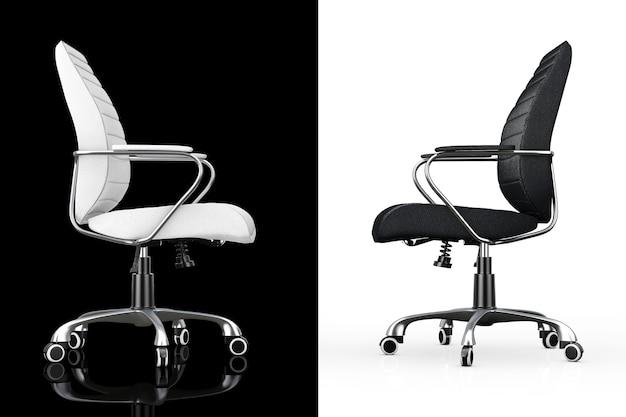 Sedie da ufficio boss in pelle bianca e nera su sfondo bianco e nero. rendering 3d.