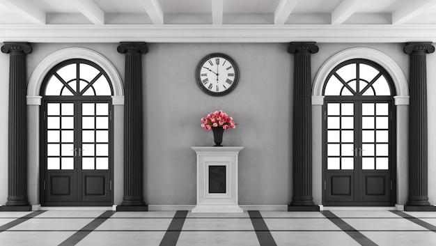 Ingresso casa di lusso in bianco e nero