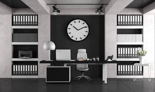 Ufficio minimalista in bianco e nero