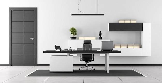 Stanza dell'ufficio moderno in bianco e nero