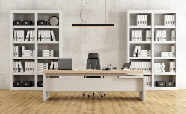Ufficio moderno in bianco e nero