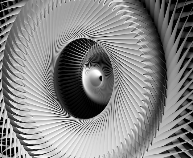 Arte astratta monocromatica in bianco e nero di 3d con la parte del motore a propulsione industriale meccanico surreale della turbina o fiore o simbolo del sole