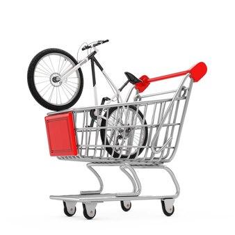 Mountain bike in bianco e nero nel carrello del carrello su sfondo bianco. rendering 3d