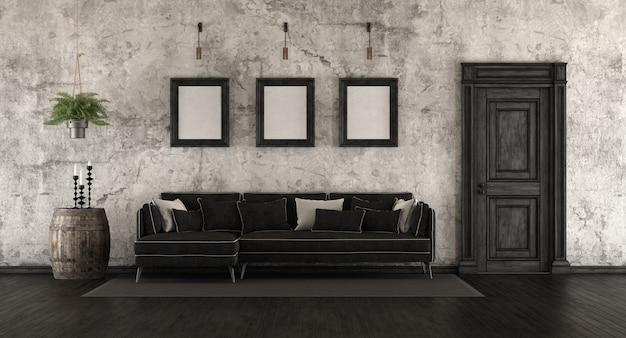 Vecchia stanza in bianco e nero