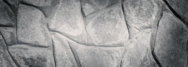 Vecchio muro di pietra in bianco e nero, sfondo panoramico. design per ufficio, sfondo
