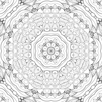 Motivo in bianco e nero colorante fiori e foglie. libro da colorare di piante di carta di bellissimo sfondo geometrico