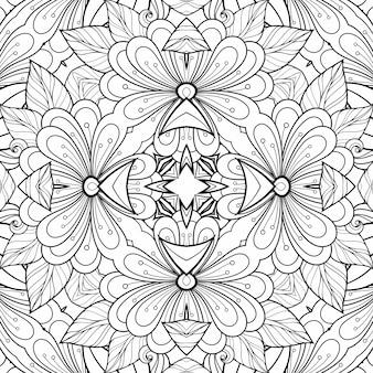 Motivo in bianco e nero da colorare fiori e foglie. pianta di carta di sfondo bella geometrica