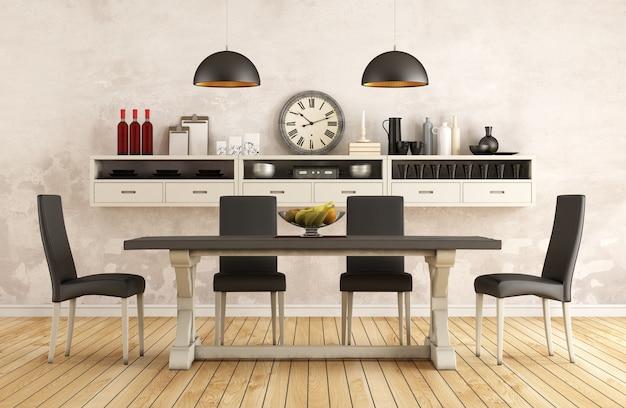 Sala da pranzo retrò in bianco e nero con vecchio tavolo e sedie 3d interni