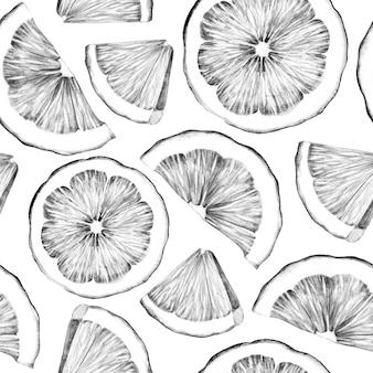 Modello senza cuciture in bianco e nero con fette di limone Foto Premium