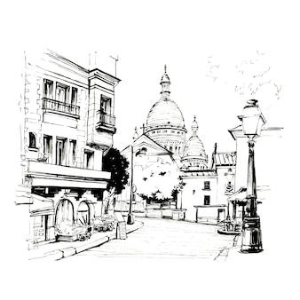 Schizzo in bianco e nero di place du tertre con tavoli di caffè e il sacre-coeur al mattino, quartiere montmartre a parigi, francia