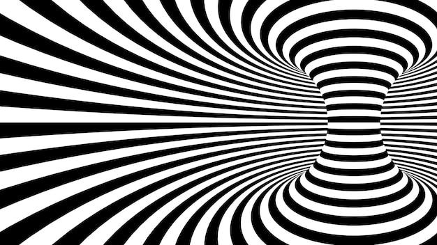 Linee curve contorte in bianco e nero che formano il toro orizzontale