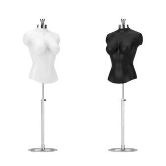 Mennequin delle donne del sarto dell'annata in bianco e nero su un fondo bianco. rendering 3d