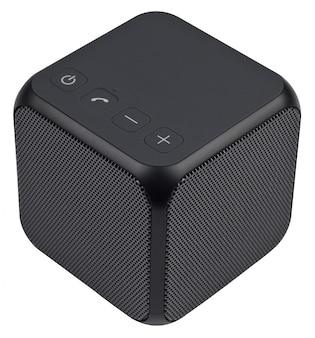 Altoparlante bluetooth portatile wireless nero, isolato su sfondo bianco.