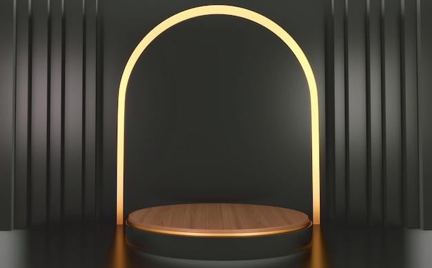 Podio cilindro nero e legno su sfondo nero