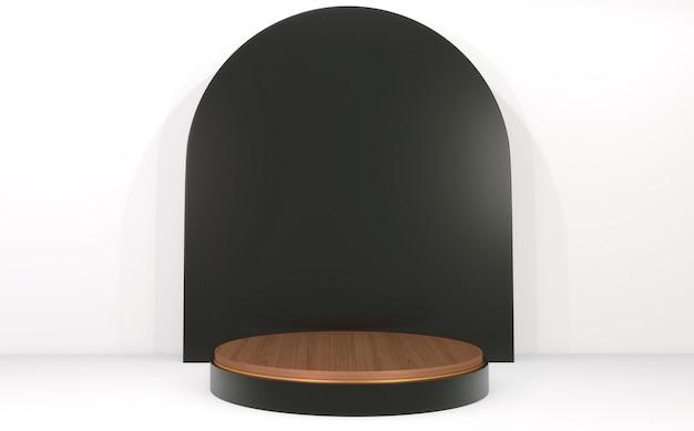 Podio cilindro nero e legno su sfondo bianco e nero