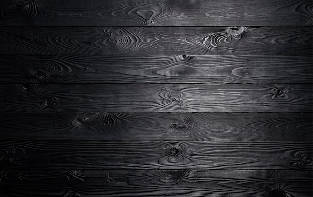 Tavolo in legno nero con spazio vuoto