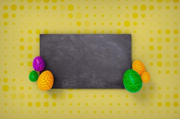 Lavagna con testo e uova di pasqua, rendering 3d