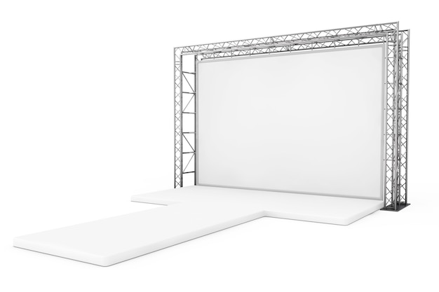 Banner esterno pubblicitario vuoto su sistema di costruzione a traliccio metallico con podio vuoto su sfondo bianco. rendering 3d