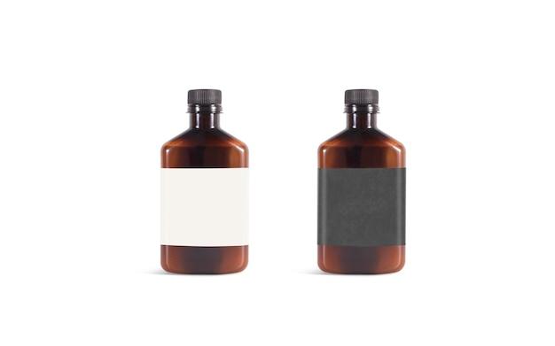 Bottiglia di plastica ambrata vuota con etichetta in bianco e nero