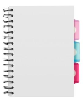 Sfondo bianco. quaderno a spirale di carta isolato su briciolo