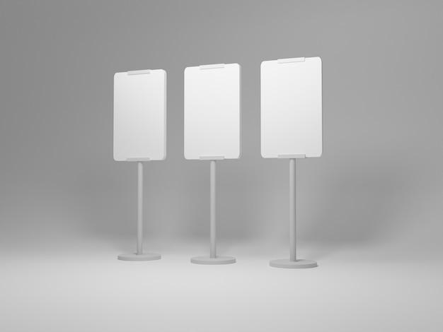 Il mockup del tabellone per le affissioni in bianco ha messo l'immagine sul rendering 3d di sfondo bianco