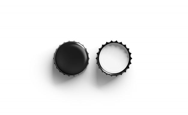 Coperchio della birra nera in bianco, vista dall'alto, lato anteriore e posteriore