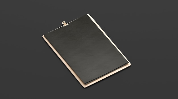 Menu bar nero vuoto, tavola di legno mock up, a4, vista laterale