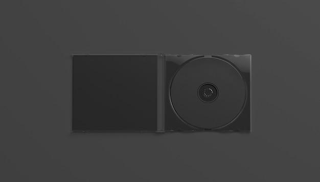 Custodia per cd nera vuota aperta, vista dall'alto, isolata