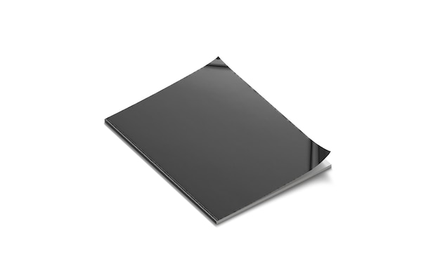 Mockup di rivista chiusa nera vuota, isolata, vista laterale