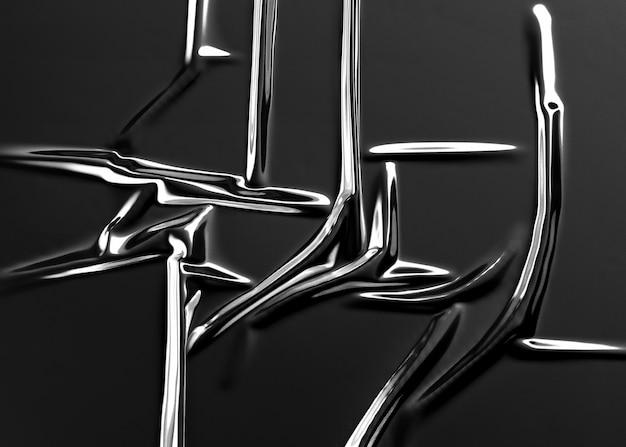 Sovrapposizione di involucro di lamina di plastica sgualcita nera in bianco, rendering 3d. cellophane decorativo scuro vuoto. foglio di polietilene industriale trasparente per supporto o incarto.
