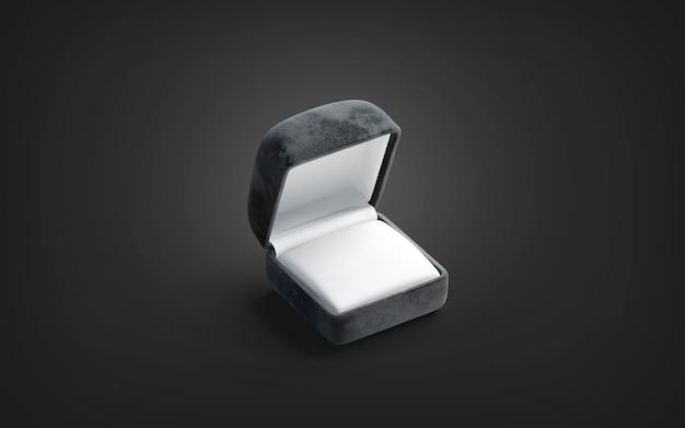 Mockup di scatola anello aperto nero vuoto su oscurità