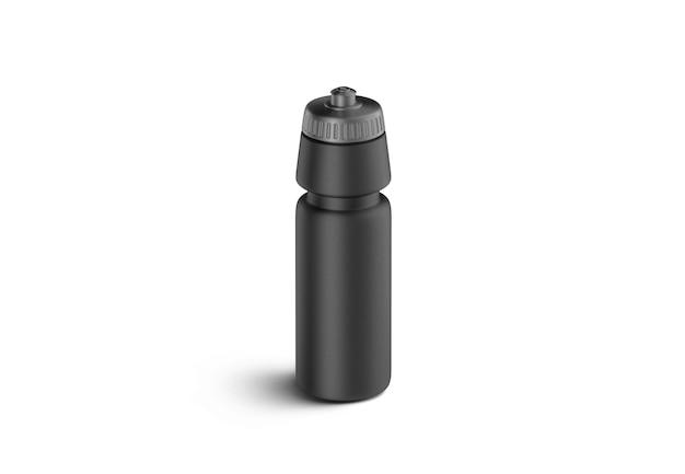 Mockup di bottiglia sportiva in plastica nera vuota